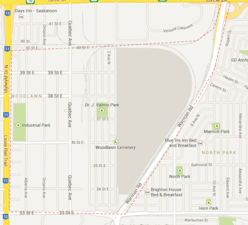 An outline of Kelsey-Woodlawn in Saskatoon