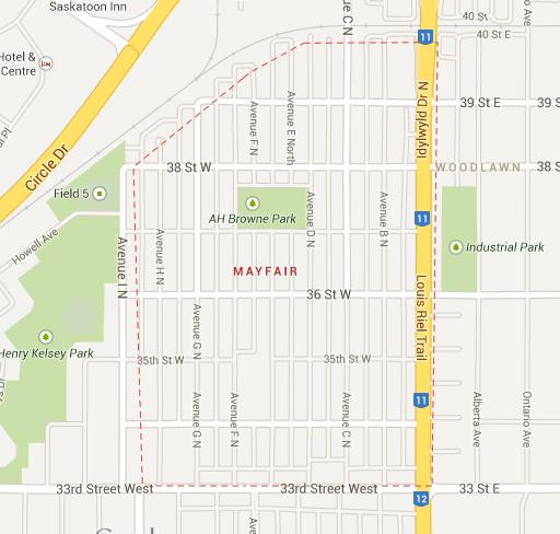 An outline of Mayfair in Saskatoon