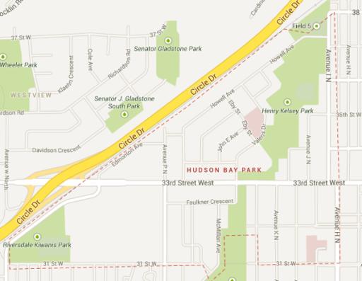An outline of Hudson Bay Park in Saskatoon