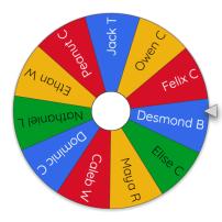 2019 Snowflake art project winner wheel